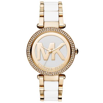 Michael Kors  恬雅高貴晶鑽時尚腕錶-白X金/38mm