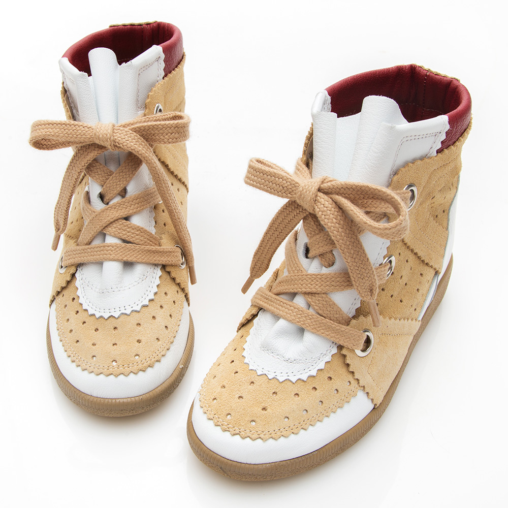 Camille's 韓國空運-正韓製-撞色牛麂皮內增高休閒鞋-白x棕