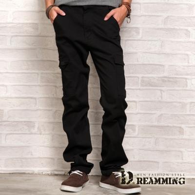 Dreamming 繡線圖騰立體側袋伸縮休閒長褲-黑色