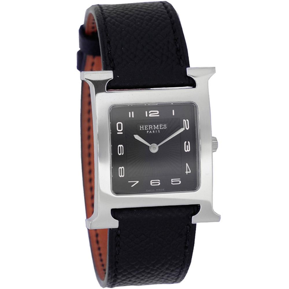 HERMES 愛馬仕 H-OUR 經典中型腕錶-黑/25x35mm 現貨