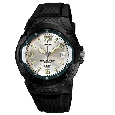 CASIO 新版超時玩家十年電量指針錶(MW-600F-7A)-銀白