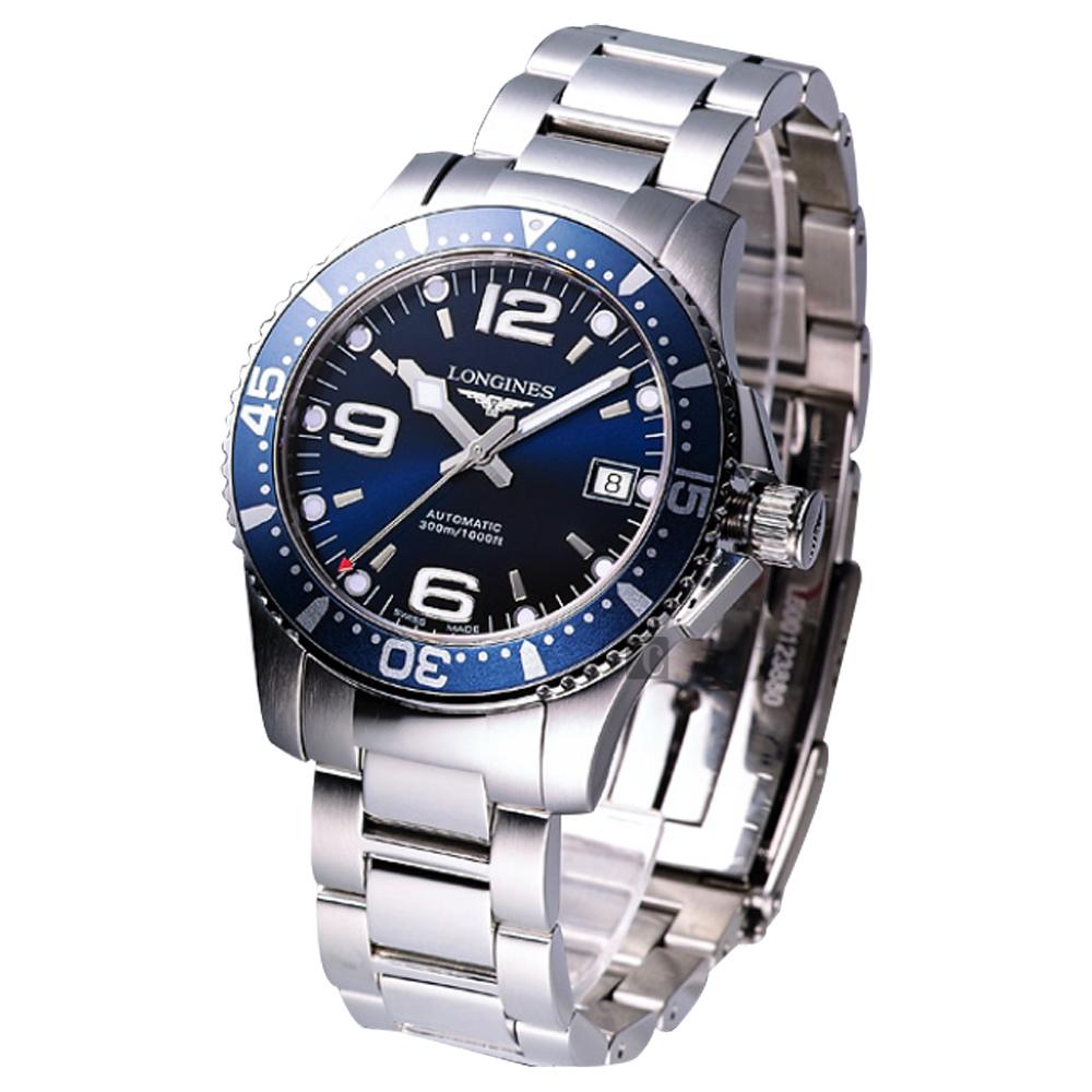 LONGINES浪琴 征服者300米潛水64小時動力儲存機械錶-藍/41mm