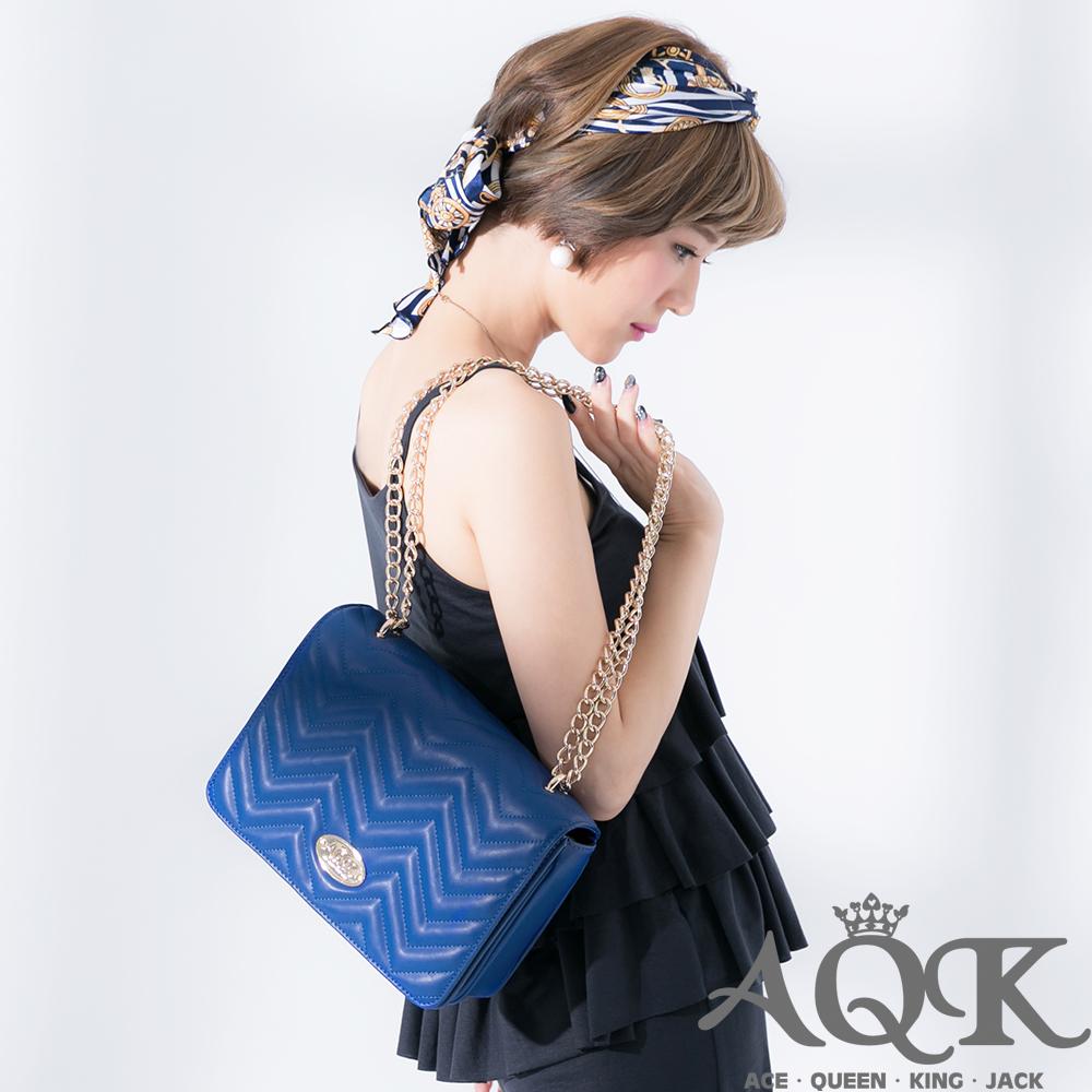 AQK 幾何圖形鍊帶2way斜背包(大)-藍