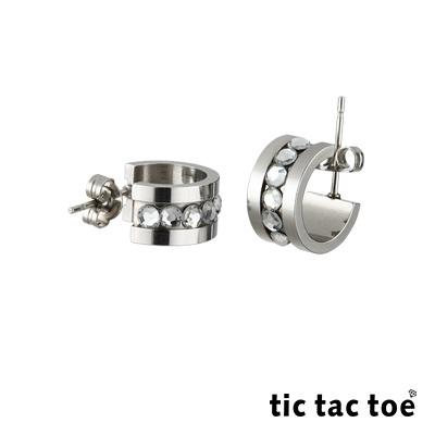 tic tac toe半圓穿式白鋼耳環系列-白晶
