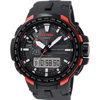 CASIO 卡西歐 PRO TREK 專業登山太陽能電波手錶-橘/58mm