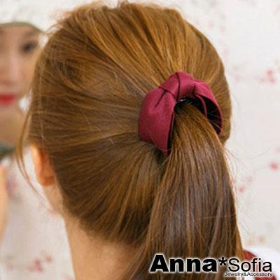 AnnaSofia-單色斜紋單層蝶結-純手工圓夾髮夾-酒紅系