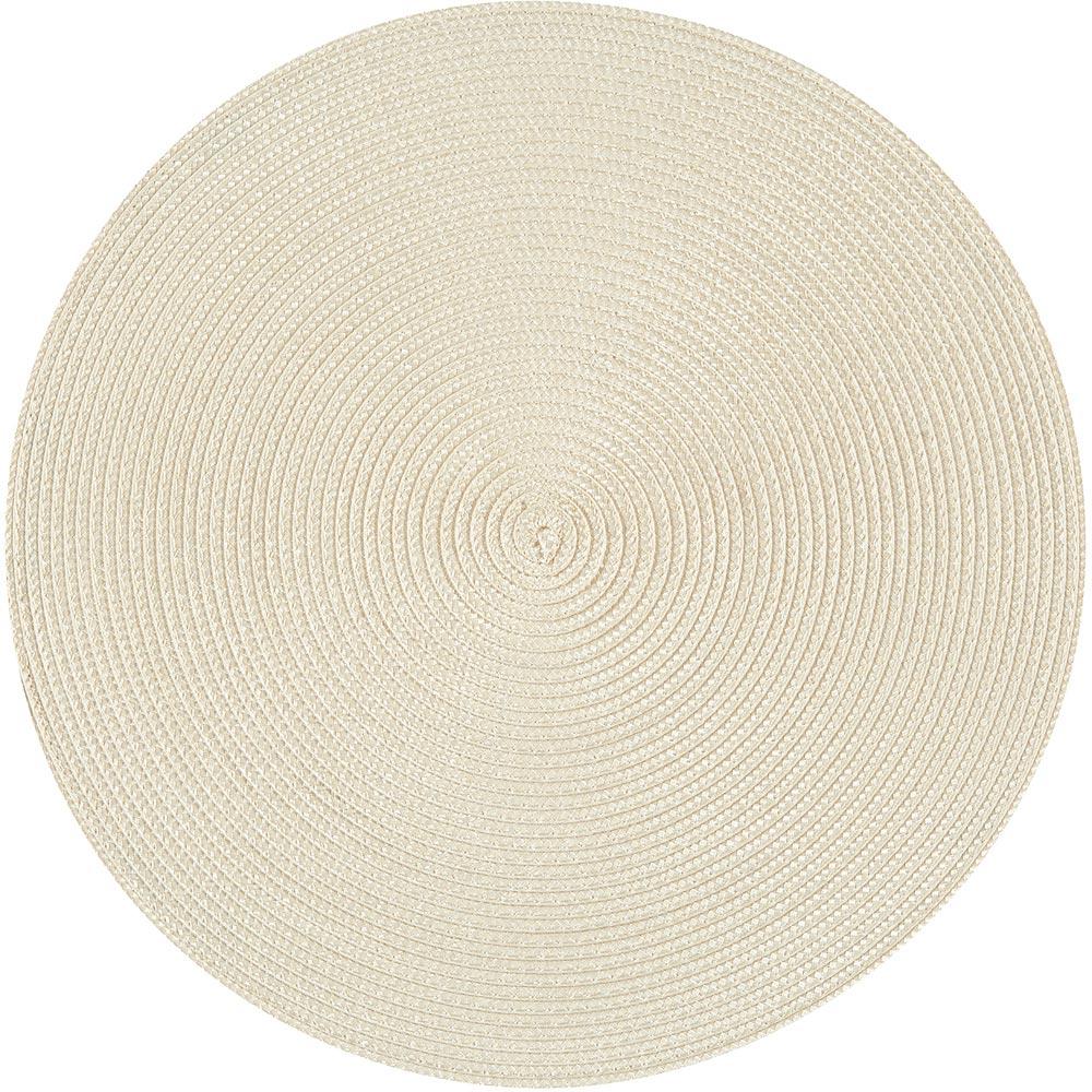 NOW 素面織紋圓餐墊(奶油米)