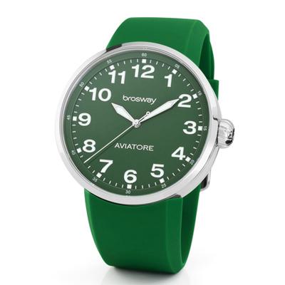 brosway Oblo Aviatore 義式極簡風格矽膠碗錶-綠/ 44 . 2 mm