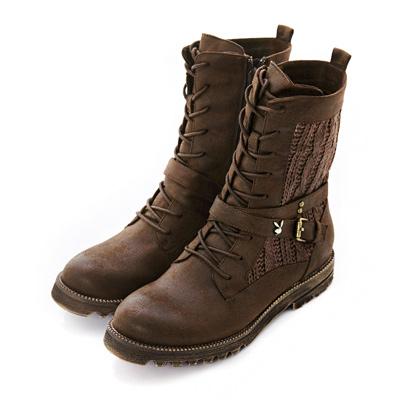 PLAYBOY 個性男孩風 編織皮帶釦短筒靴-棕(女)