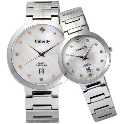 Canody 極度時尚都會對錶-珍珠貝-金鑽/39+29mm
