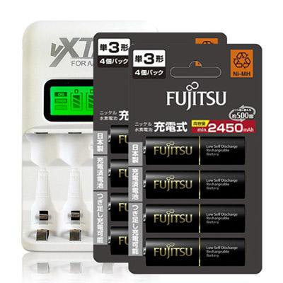 Fujitsu 2450mAh低自放3號充電電池(8顆入)+VXTRA LCD 充電器