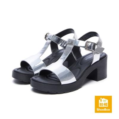 達芙妮DAPHNE ShoeBox系列 涼鞋-簡約T字繞踝高跟防水台涼鞋-銀