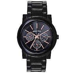 GOTO簡約藍寶石鏡面陶瓷手錶-黑/39mm