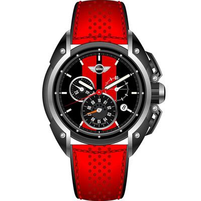 MINI Swiss Watches 極速運動計時腕錶-黑x紅/45mm