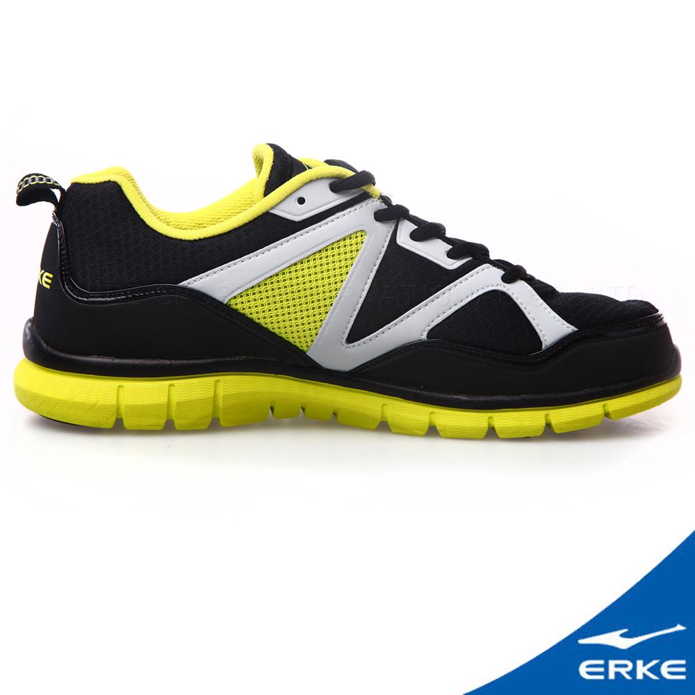 ERKE 鴻星爾克。男運動綜訓慢跑鞋-正黑/果綠