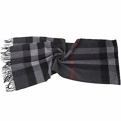 BURBERRY 100%喀什米爾炭灰色大格紋羊毛圍巾(200x36CM)