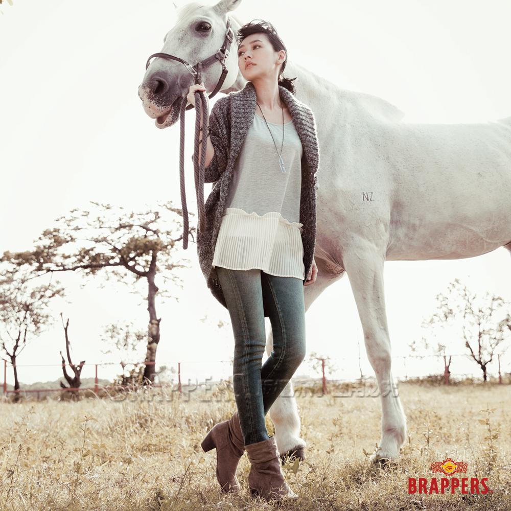 BRAPPERS 女款 小S代言 女用二件式雪紡壓褶長袖上衣-灰