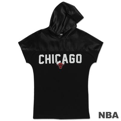 NBA-芝加哥公牛隊連帽寬鬆拉克蘭T恤-黑-女