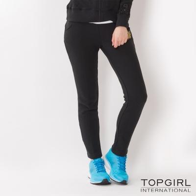 TOP-GIRL-蕾絲拼接針織休閒長褲-黑