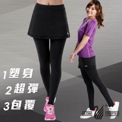 【遊遍天下】MIT台灣製3D彈力塑身假兩件式壓力褲P112A黑色