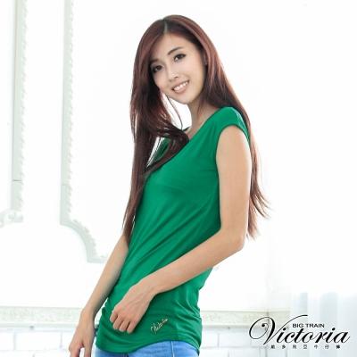 Victoria 右肩立體抓摺長T-女-綠