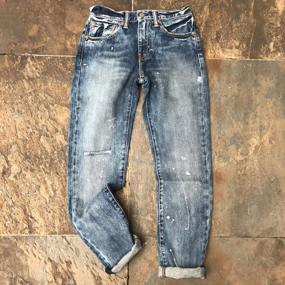 Levis 男款 511 低腰修身窄管牛仔長褲 / 潑漆 / 硬挺厚磅