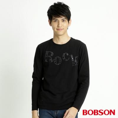 BOBSON 男款貼鋁片長袖上衣(黑88)