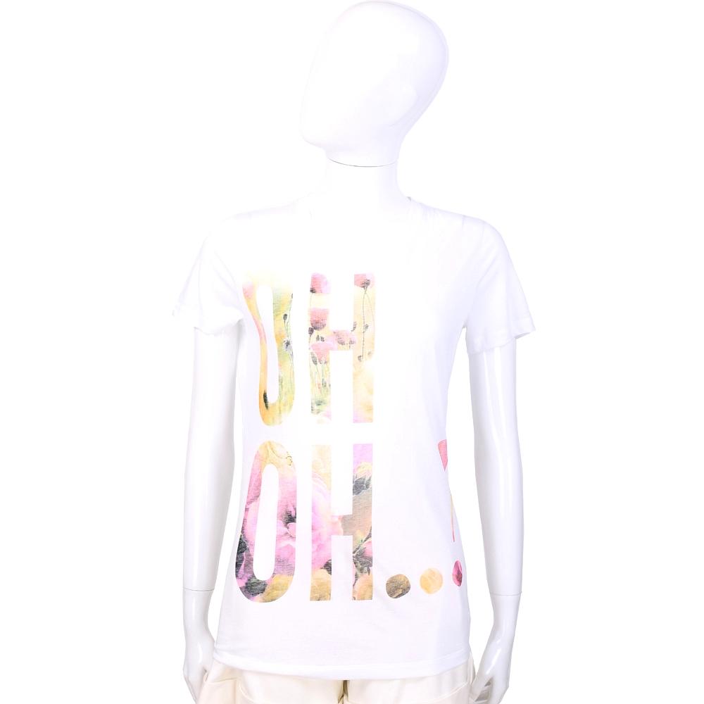 MOSCHINO 白色字母設計短袖T恤