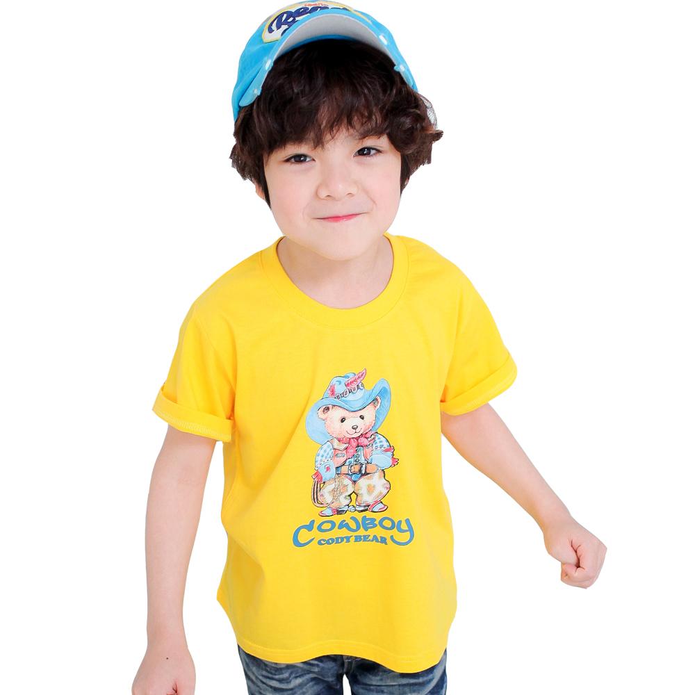 魔法Baby~台灣製插畫牛仔熊T恤(黃.紅.藍.黑.白)~k28003