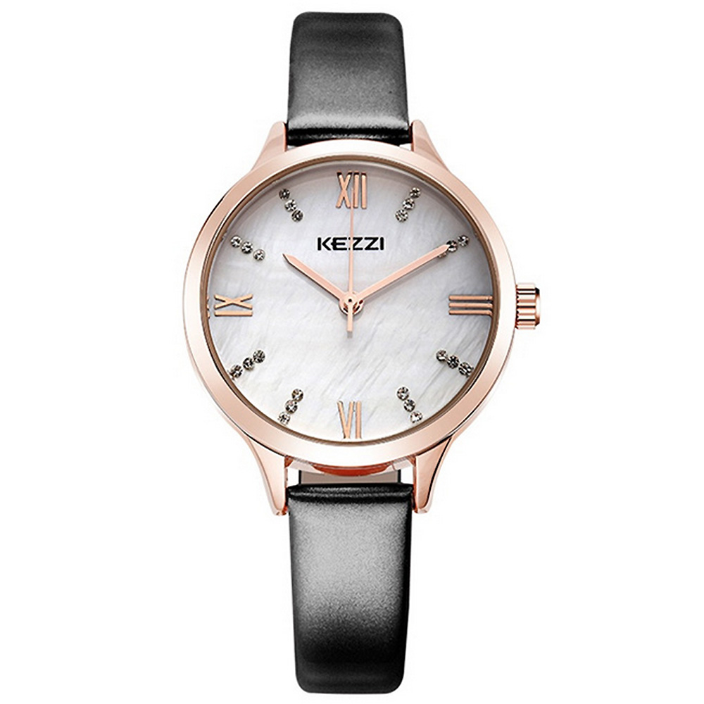 Kezzi珂紫-1381粉光細帶鑲鑽貝殼面精緻手錶-黑色33mm