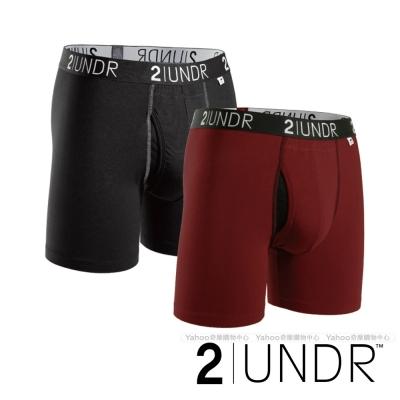 2UNDR Swing Shift 莫代爾吸排四角內褲(6吋) - 深紅、黑 二入組