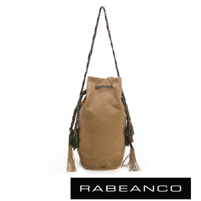 RABEANCO-流蘇抽繩牛皮網狀水桶包-駝