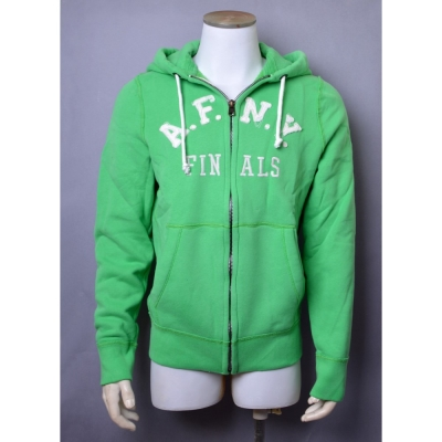 A&F Abercrombie & Fitch仿舊破損LOGO內刷毛連帽外套-青綠