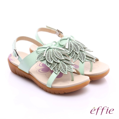 effie 輕量樂活 真皮雷射雕花葉片寬楦涼鞋 綠