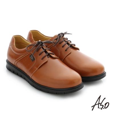 A.S.O 輕量抗震 油感牛皮綁帶奈米紳士休閒鞋 茶色
