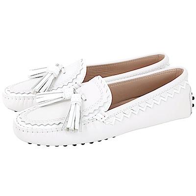 TOD'S 流蘇綴飾拼接鋸齒豆豆鞋(女鞋/灰白色)