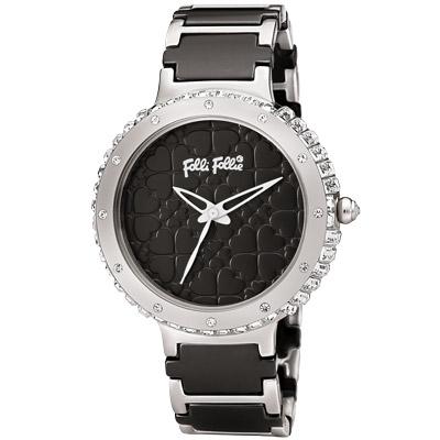Folli Follie 幸運愛戀晶鑽陶瓷腕錶-黑/38mm