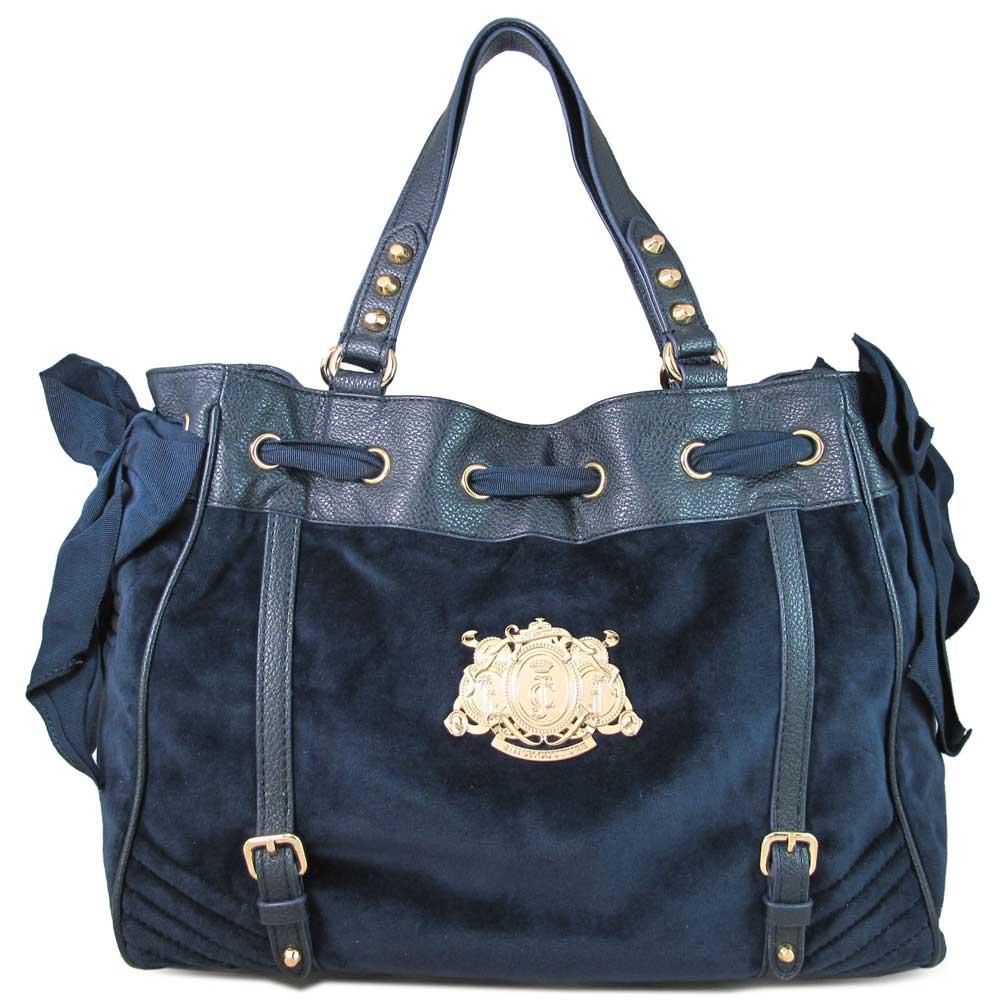 Juicy Couture 金屬Logo標幟法蘭絨綁帶大托特包(深藍色)