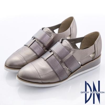 DN 帥氣街頭 時尚拼接交織束帶簍空厚底鞋-金屬灰