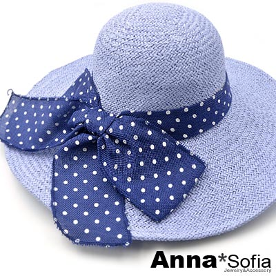 AnnaSofia-水玉點麻綁結-超寬簷遮陽草帽淑