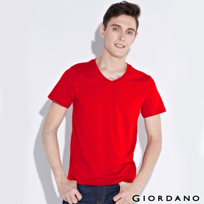 GIORDANO-男裝素色純棉V領短袖TEE-18