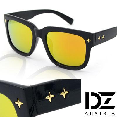 【2件59折】DZ 十字閃光釘 抗UV太陽眼鏡造型墨鏡(綠彩虹膜)