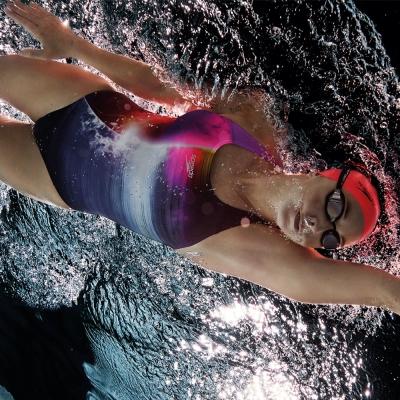 SPEEDO 女 競技 連身泳裝 Solarvision PL PB 海軍藍