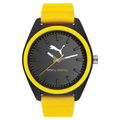 PUMA 跳躍非凡 PU錶帶 運動時尚腕錶-黃/44mm