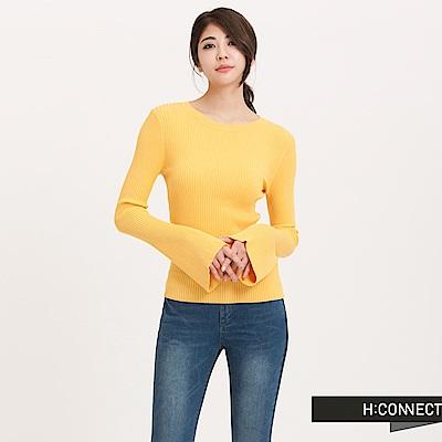 H:CONNECT 韓國品牌 女裝 - 坑條喇叭袖針織上衣 - 黃