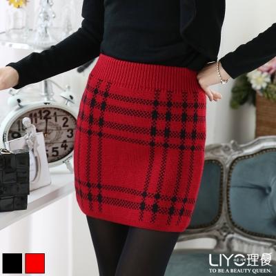 LIYO理優窄裙格紋針織毛呢窄裙-暗紅-黑