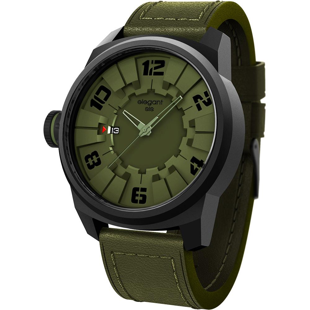 elegantsis Army 都市實戰潮流腕錶-綠/48mm