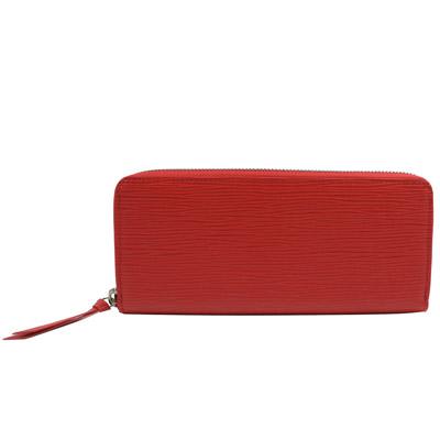 LV M60913 Clemence EPI 水波紋皮革拉鍊長夾.紅