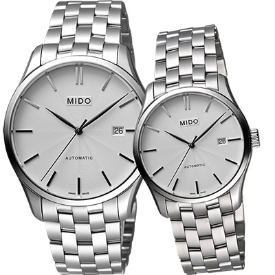 MIDO Belluna II 雋永系列經典機械對錶-銀/40+33mm