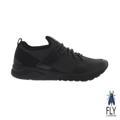 Fly London(男) 愛飛的男孩 輕透氣網紋真皮免綁帶運動鞋 - 雙黑